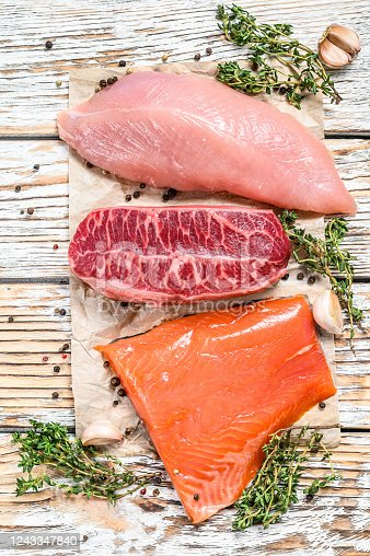 Different types of steaks on wooden table with herbs. Beef top blade, salmon fillet and Turkey breast. Organic fish, poultry and beef meat. White background. Top view.