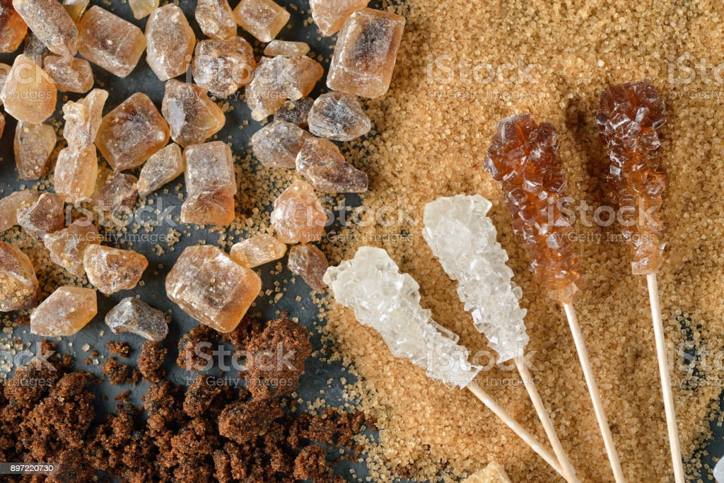 Different types of sugar stock photo