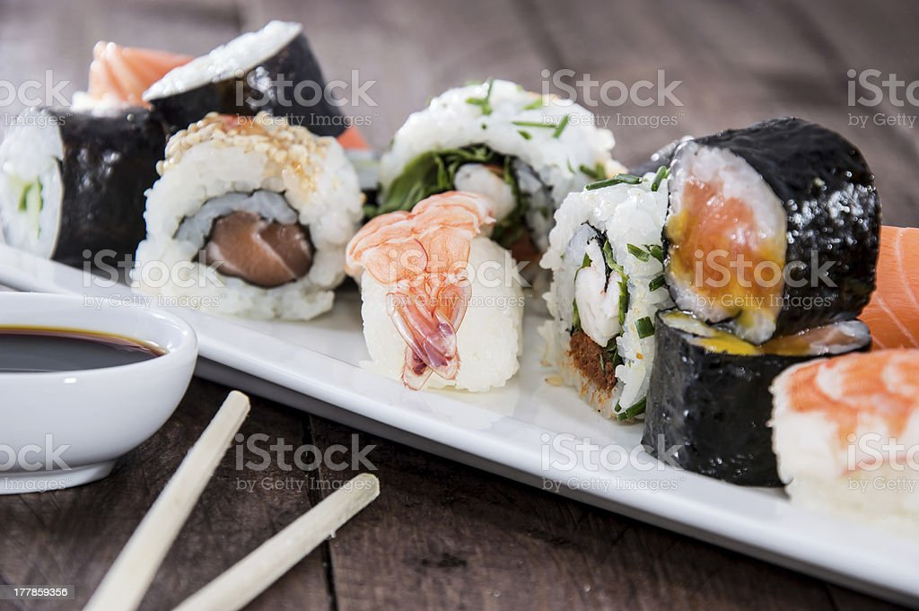 Different types of Sushi on a plate - Royalty-free Chopped Food Stock Photo