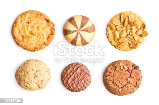 istock Different types of sweet cookies isolated on white background. 1093637394