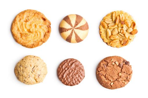 달콤한 쿠키 흰색 배경에 고립의 다른 종류 0명에 대한 스톡 사진 및 기타 이미지