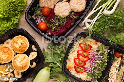 istock Different types of takeaway food in microwavable containers 1083730192