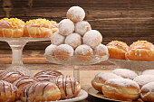 Different types of traditional Polish homemade donuts