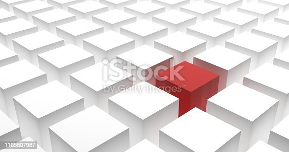 Different, unique and standing out concept with cubes for business or corporate theme