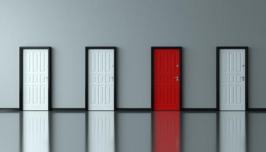Different red door between the white doors. ( 3d render )