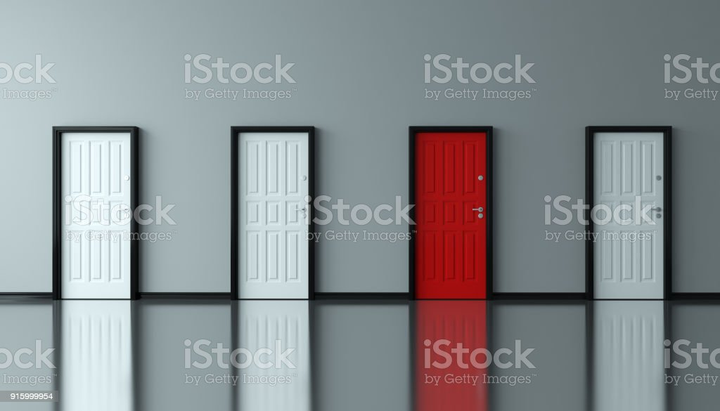 Different Unique Red Door stock photo