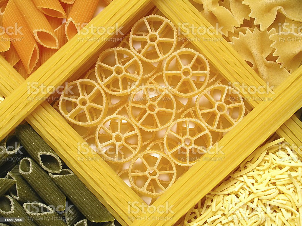 Different variations of dried pasta royalty-free stock photo