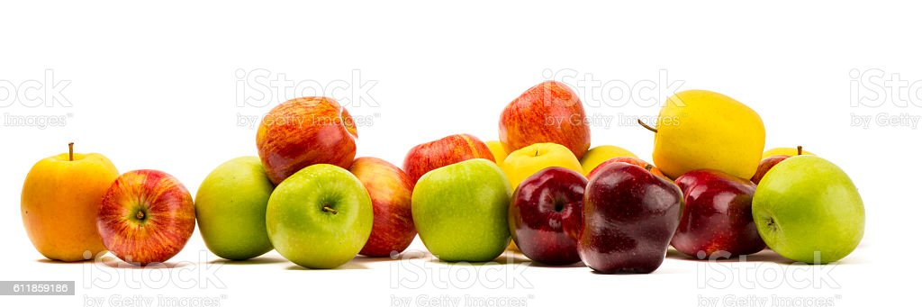 Different varieties of apples over white stock photo