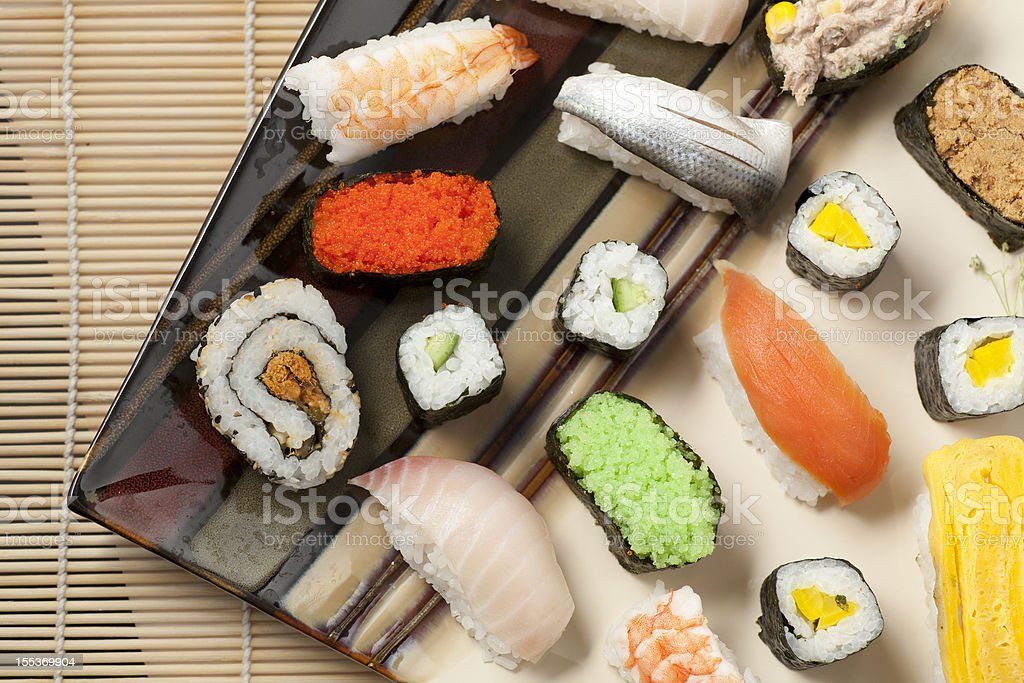 Different varieties of Sashimi and Sushi royalty-free stock photo