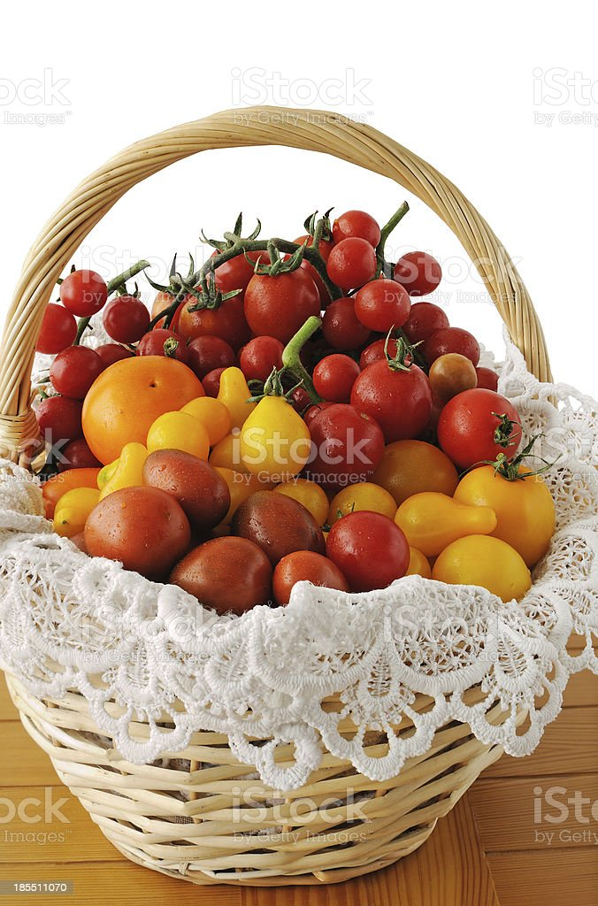 Different varieties of tomatoes in a basket royalty-free stock photo