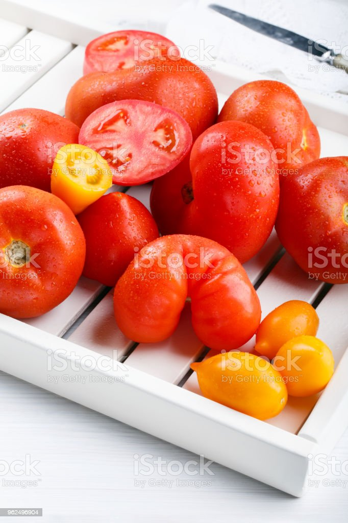 Different varieties of tomatoes on a white tray. Colorful red and yellow fresh ripe tomatoes. - Royalty-free Agriculture Stock Photo