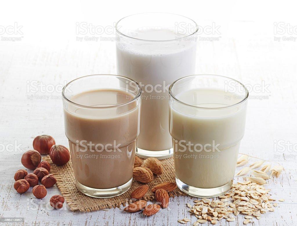 Different vegan milk stock photo