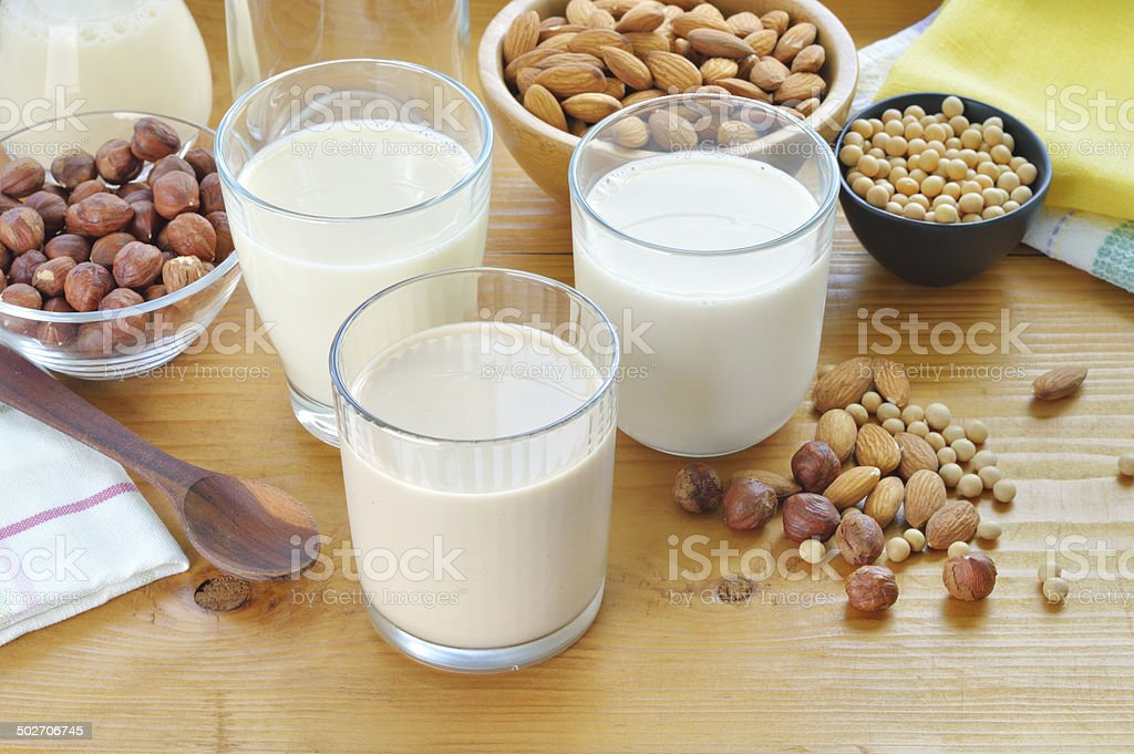 Different vegan milks. stock photo