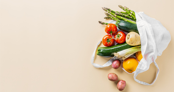 istock Different vegetables in textile bag 1153046458
