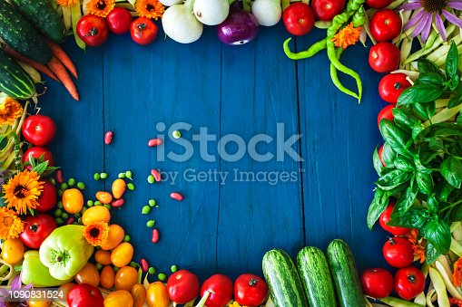 Different Vegetables Making a Boarder on Blue Rusting Wooden Background