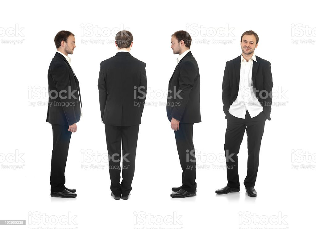 Different view of a young decontracted buisness man stock photo