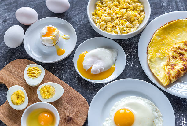 Different ways of cooking eggs Different ways of cooking eggs animal egg stock pictures, royalty-free photos & images