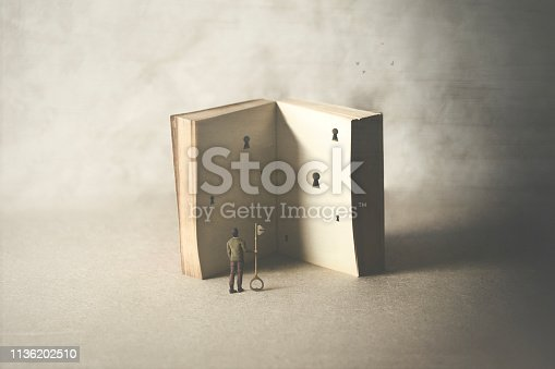 istock different ways of interpreting a book, surreal concept 1136202510