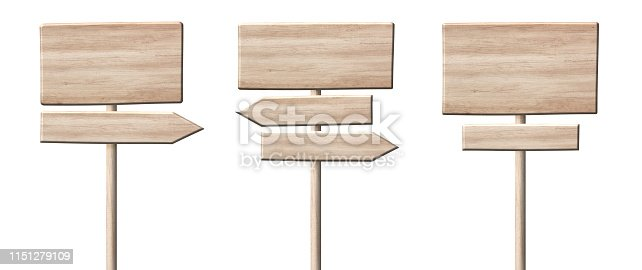 istock Different wooden direction arrow signposts or roadsigns made of light wood 1151279109