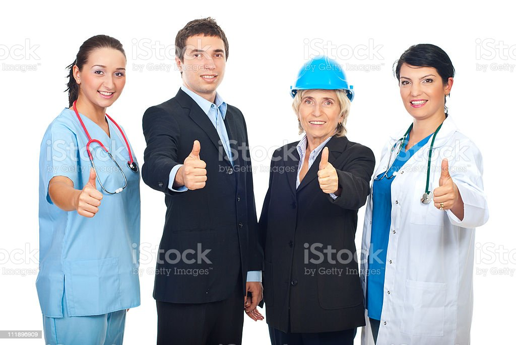 Different workers giving thumbs up royalty-free stock photo