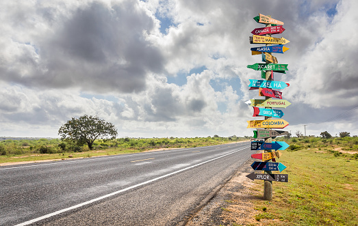istock Different world directions signpost 1150073865