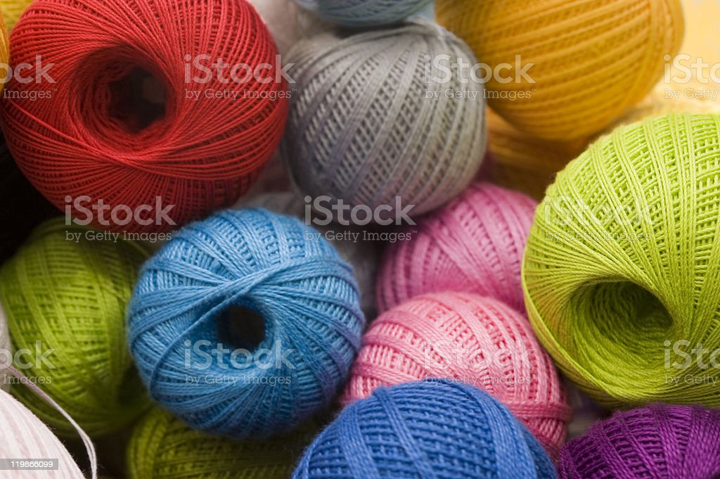 Different yarn balls stock photo