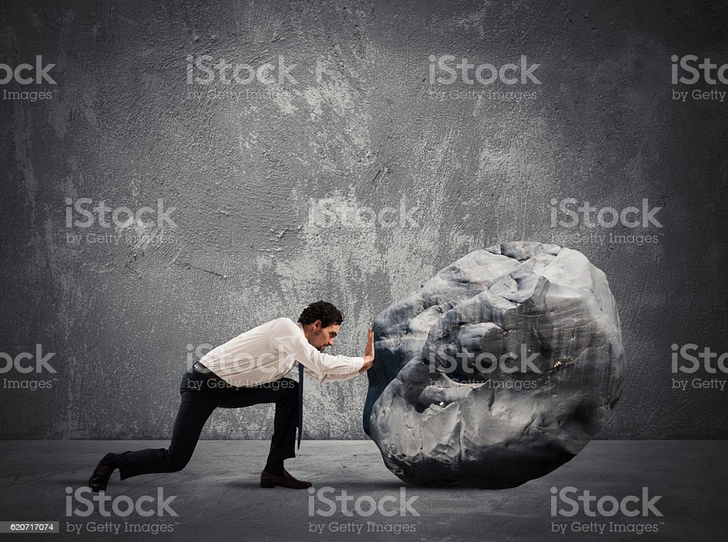 Difficult career with great effort stock photo