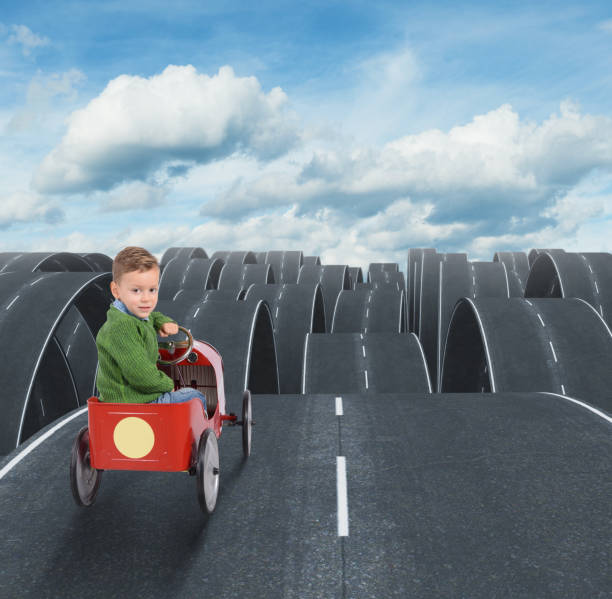 Difficult future of a kid with disjointed streets Difficult future of a kid with all disjointed streets disjointed stock pictures, royalty-free photos & images
