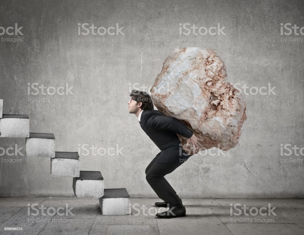 Difficult road to the success stock photo