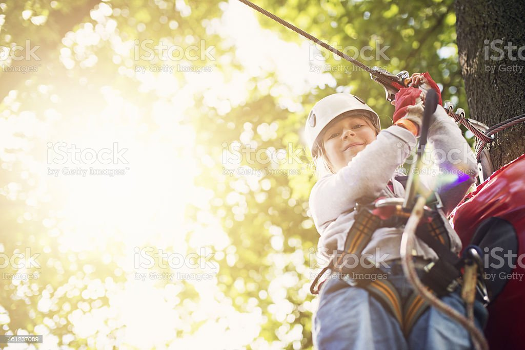 Difficult ropes course stock photo