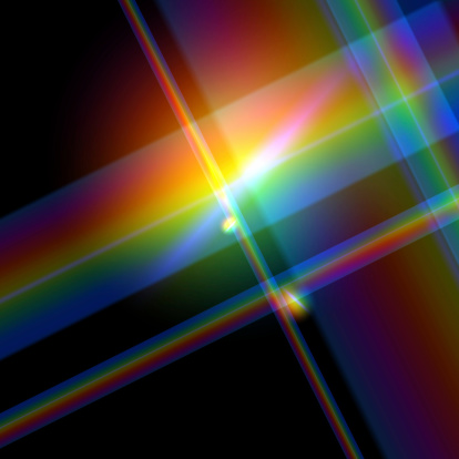 Rendered raster illustration of the diffraction of light, suitable for use as a background or in it's own right.