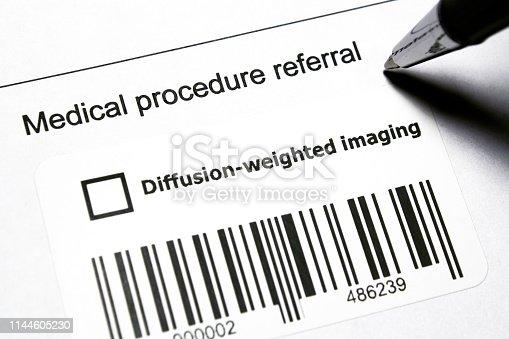 Diagnostic medical procedure - Diffusion MRI