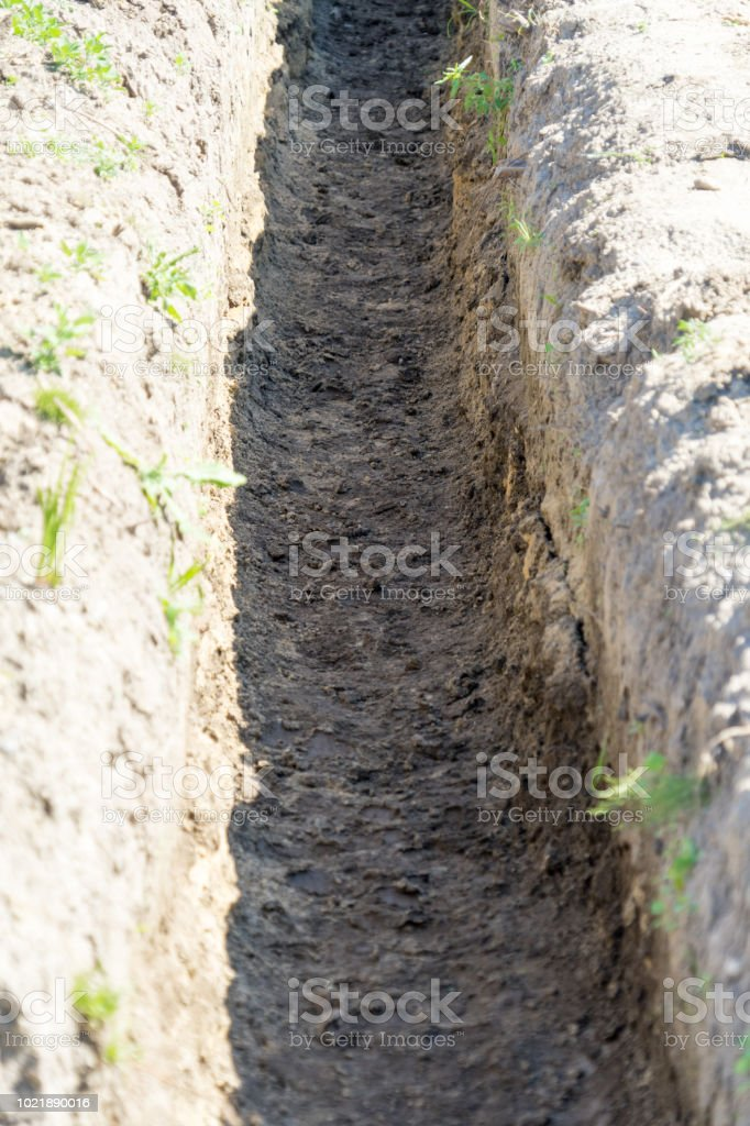 Dig A Trench For Construction Place For Your Text Stock