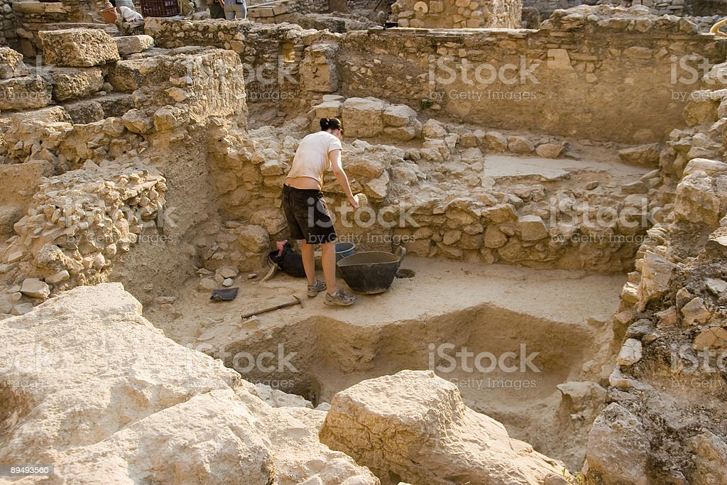 dig in progress at the Ancient Agora, Athens, Greece stock photo
