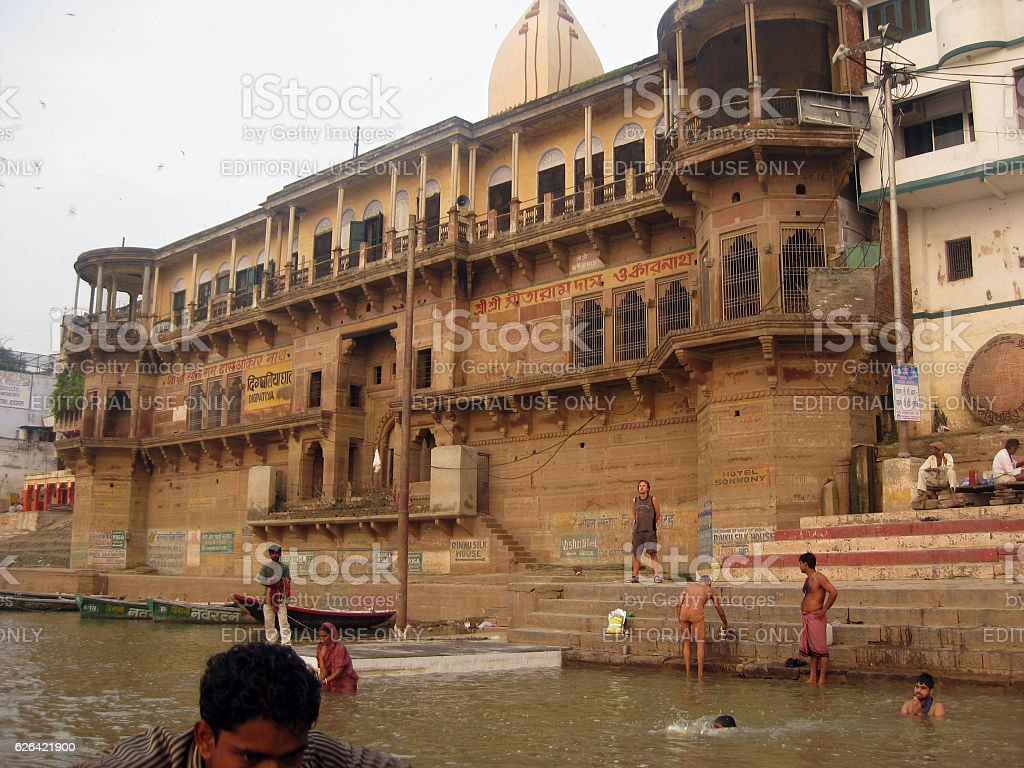 Dig Patiya Ghat and pilgrims in Gages river stock photo