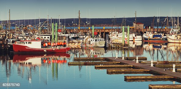 The piers and wharves of the scallop fleet in Digby, Nova Scotia.