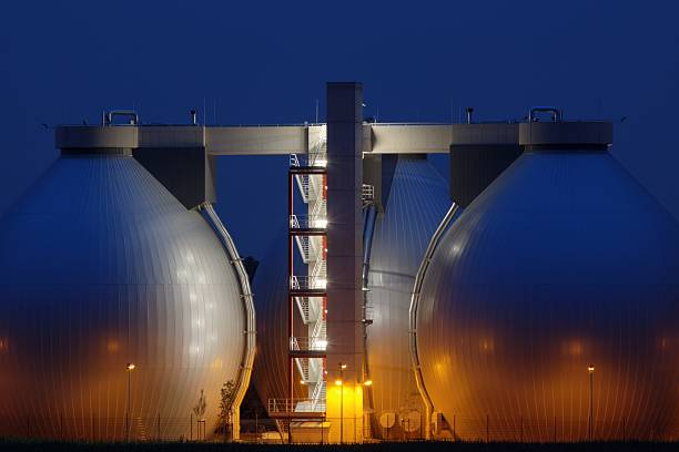 Digester Towers of a sewage plant stock photo