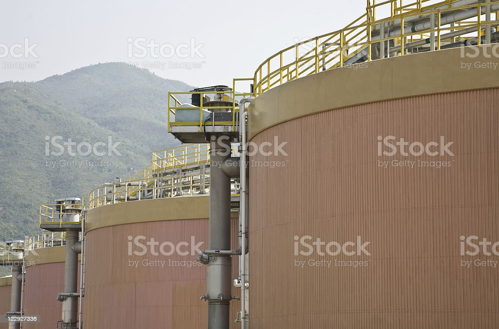 Digestion tanks in a sewage treatment plant stock photo