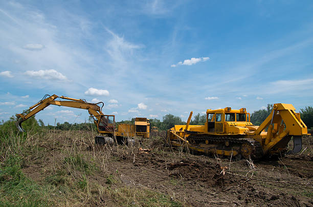 Digger and bulldozer clearing forest land. Eradicating forest with a bulldozer and digger. glade stock pictures, royalty-free photos & images