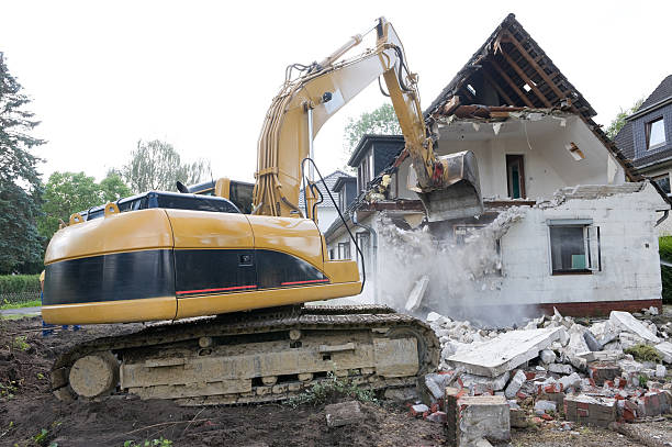 Digger Demolishing House  demolishing stock pictures, royalty-free photos & images