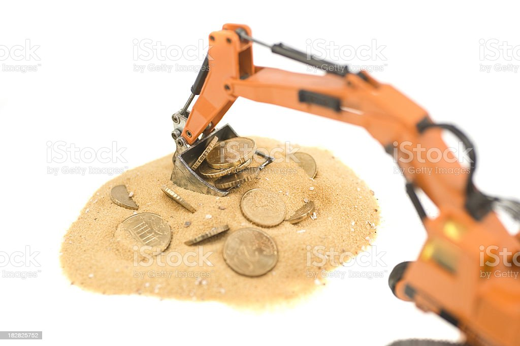 digger with coins as treasure royalty-free stock photo