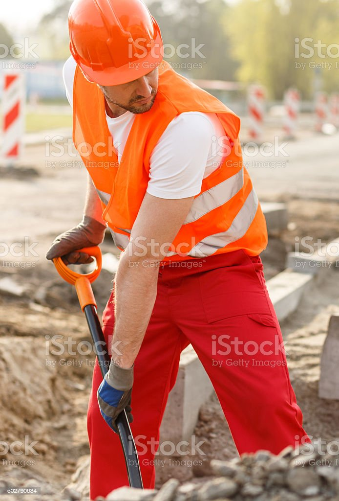Digging a hole stock photo