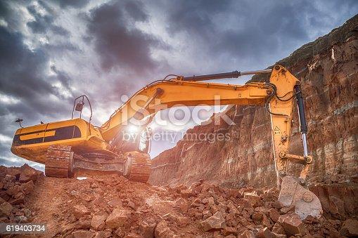HDR image of working excavator
