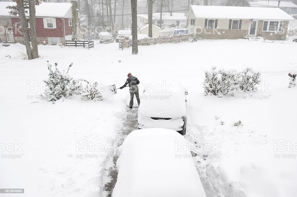 Digging Out of Winter Snow Storm stock photo
