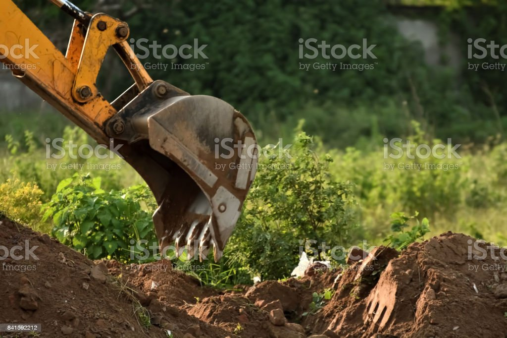 Digging soil stock photo