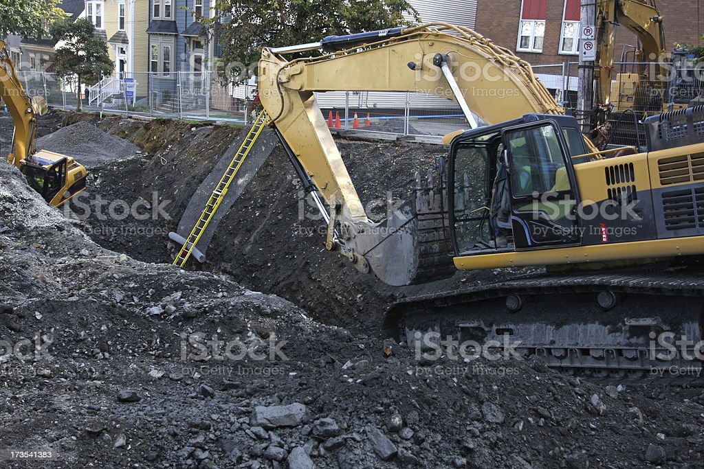 Digging Up A City Street royalty-free stock photo