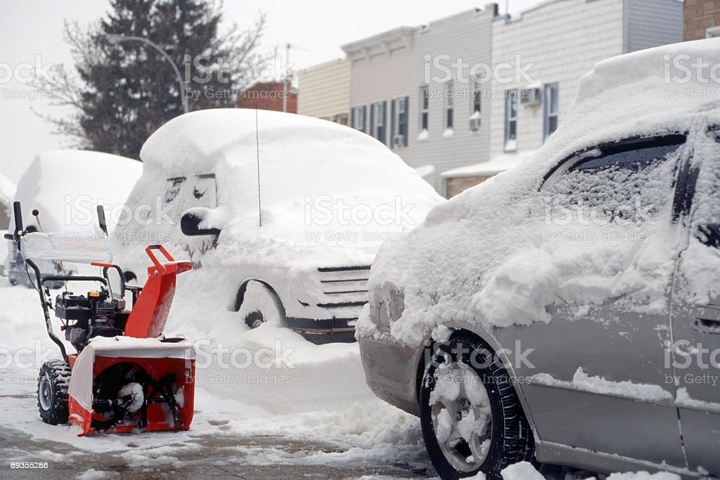 Digging-Out With Snowblower - New York City's Blizzard of 2006 royalty-free stock photo