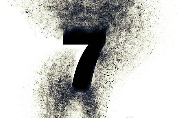 Digit 7 with particles stock photo