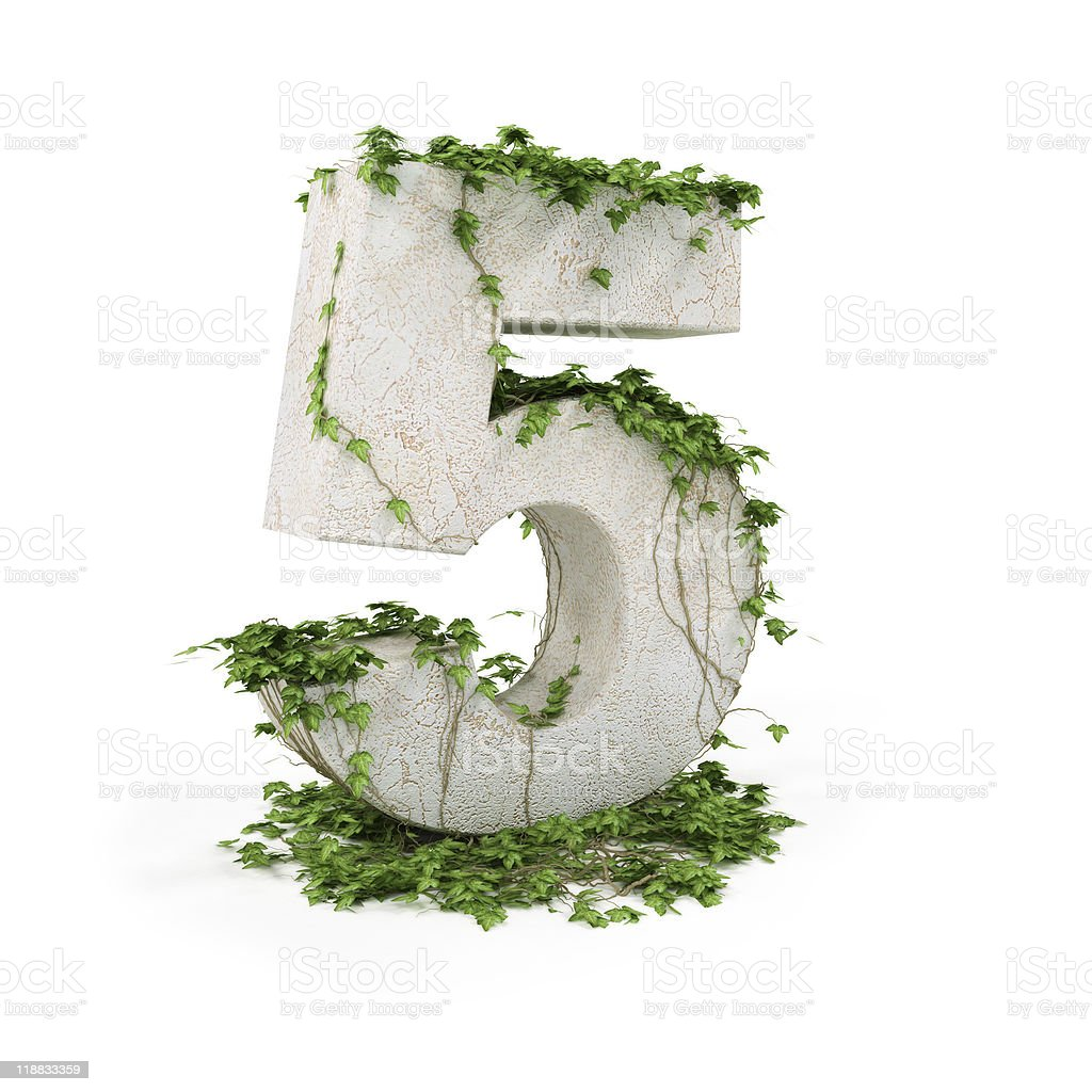 Digit five with ivy royalty-free stock photo