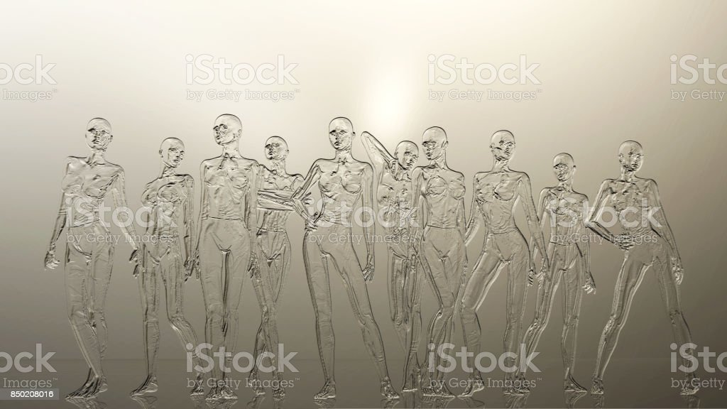 Digital 3D Illustration of a Female Manikins Relief stock photo